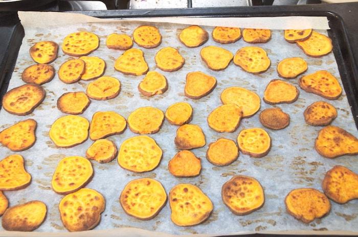 Zoete aardappel-toastjes - gebakken schijfjes