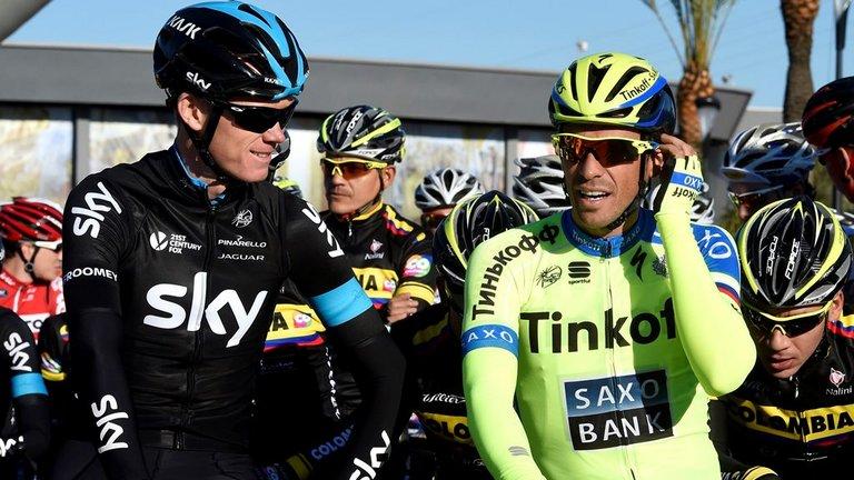 Chris Froome ve Alberto Contador 1A etabı başlamadan önce birlikte...