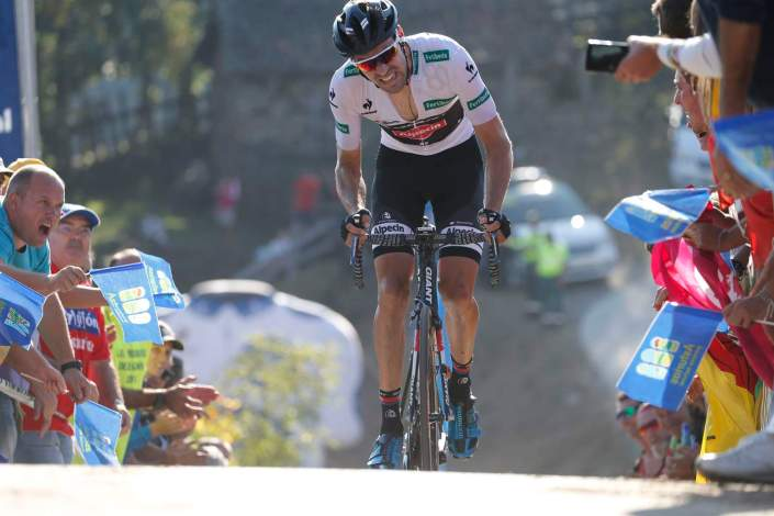 7 September 2015 70th Vuelta a Espana Stage 16 : Luarca - Ermita de Alba. Quiros DUMOULIN Tom (NED) Giant - Alpecin, Leader of the Combination Classification, at Alto Ermita de Alba Photo : Yuzuru SUNADA