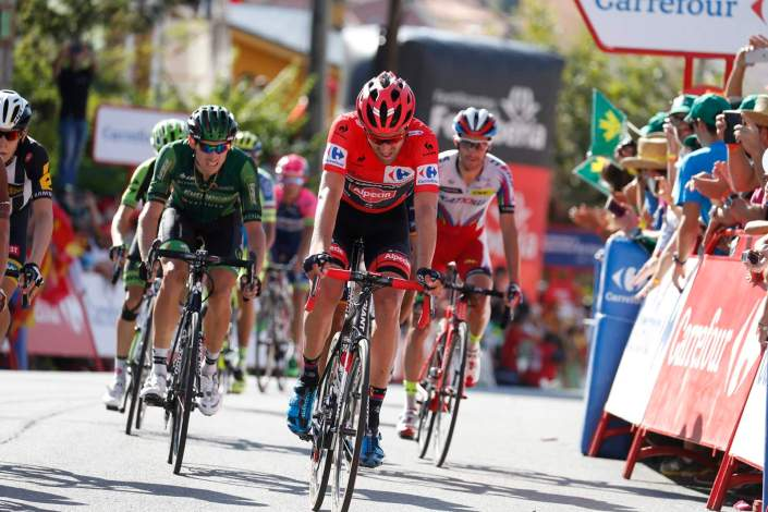 12 September 2015 70th Vuelta a Espana Stage 20 : San Lorenzo de El Escorial - Cercedilla DUMOULIN Tom (NED) Giant - Alpecin, Maillot Rojo Photo : Yuzuru SUNADA