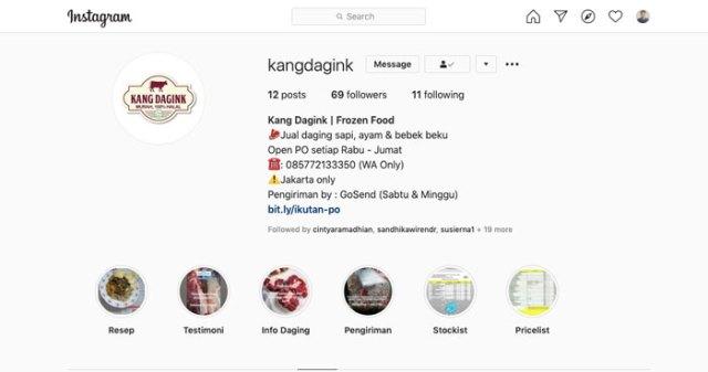 Jualan Daging Beku Online Via Instagram