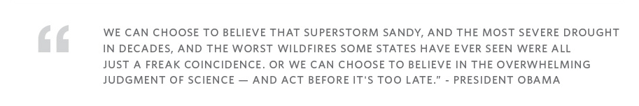 Obama's quote addressing correlation between natural disasters and climate change