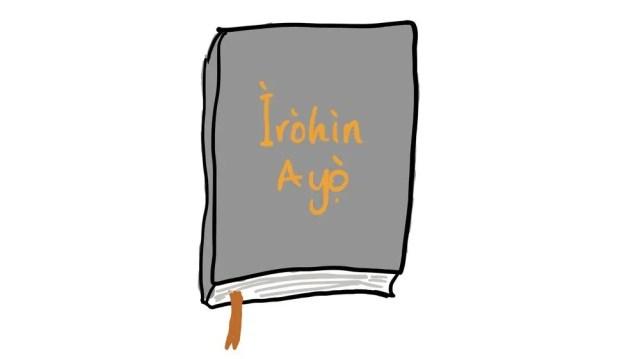 "My drawing of the Bible grandpa gave me (Ìròhìn Ayọ̀ is Yoruba for ""Joyful News"")"