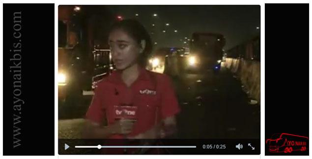reporter tv hampir tertabrak bus