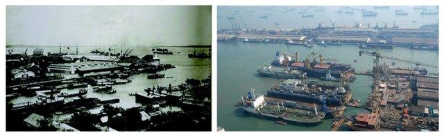 Pelabuhan Perak di tahu 1949 (kiri) dan di tahun 2009 (kanan), adalah salah satu pelabuhan tersibuk di Indonesia.