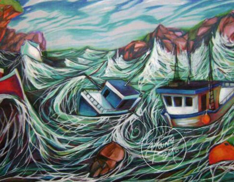 Prismacolor And Paint On Paper By Newfoundland Artist Adam