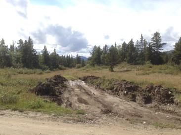 The landing zone with the damage done by a 4x4 and some heavy equipment. This led to the proposal to improve the safety of the site.