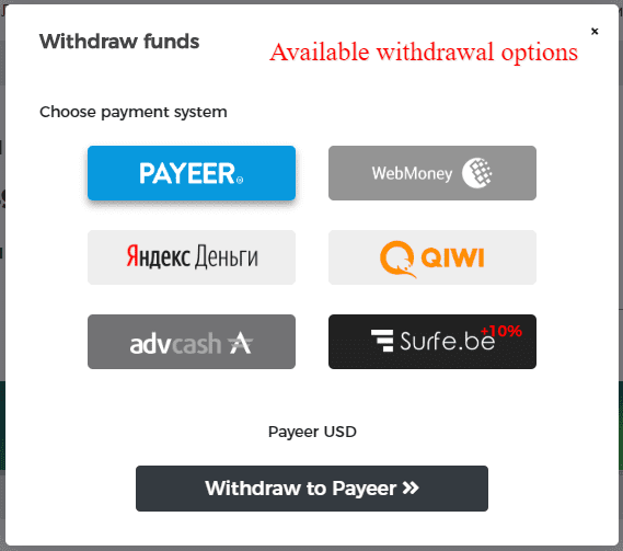 Withdrawal options for Surfe.be