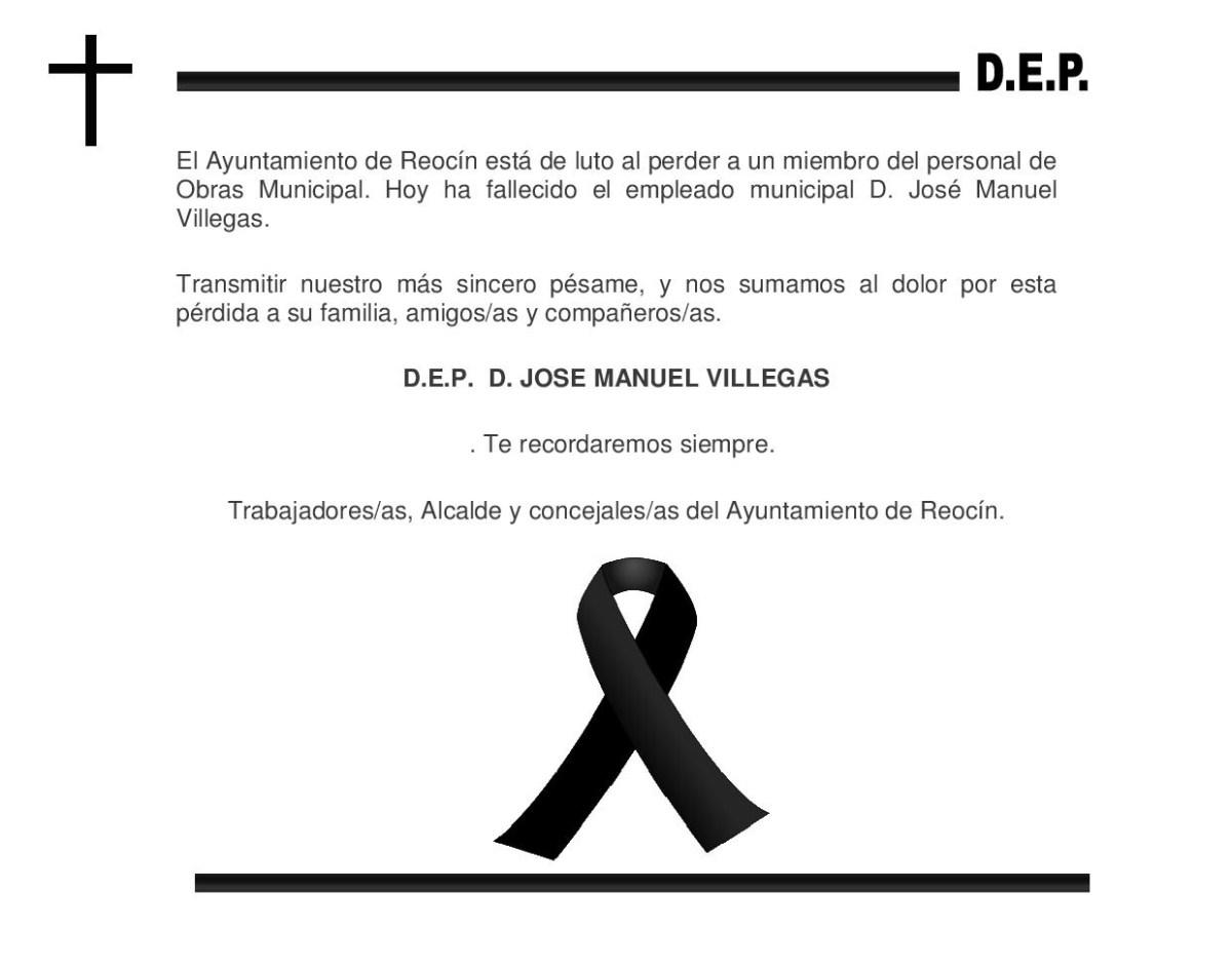 El Ayuntamiento de Reocín está de luto al perder a un miembro del personal de Obras Municipal