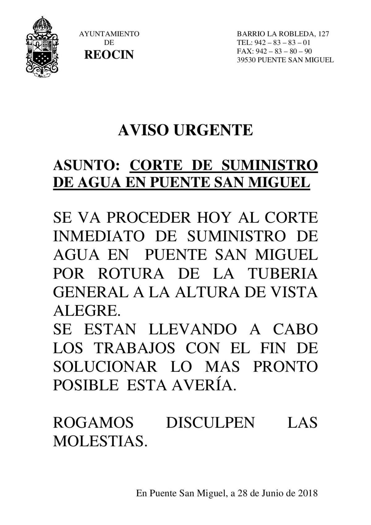 CORTE DE SUMINISTRO DE AGUA EN PUENTE SAN MIGUEL 28JUNIO2018