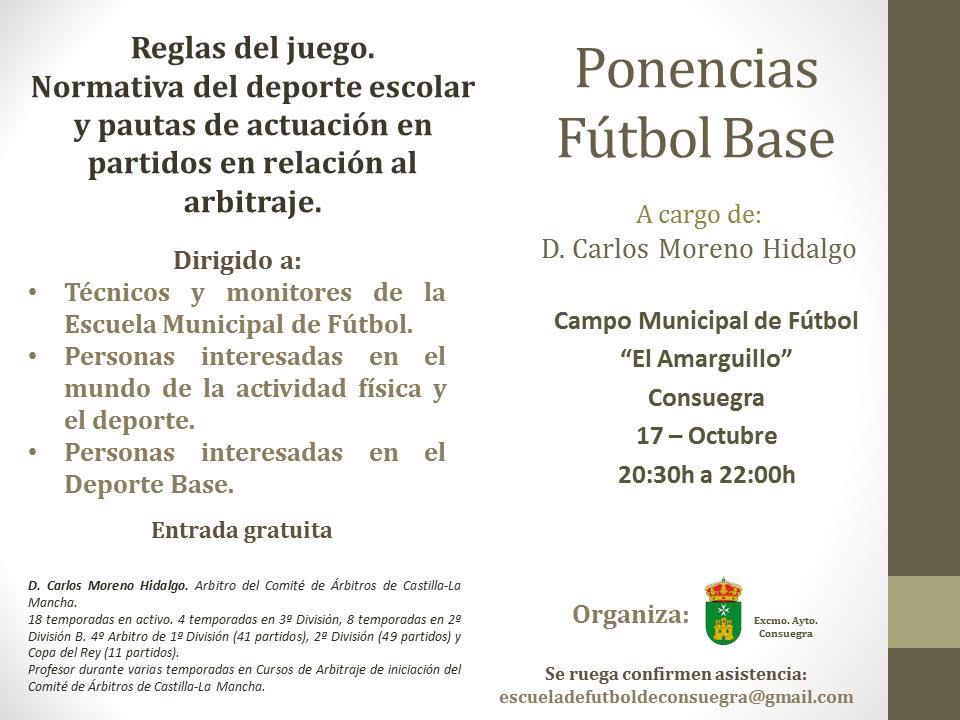 Ponencias f tbol base reglas del juego ayuntamiento de for Regla fuera de juego futbol