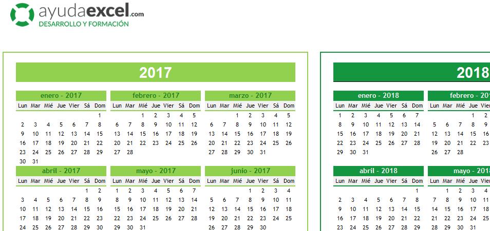 excel plantilla 2018 calendario