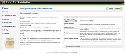 Configuracion base datos joomla