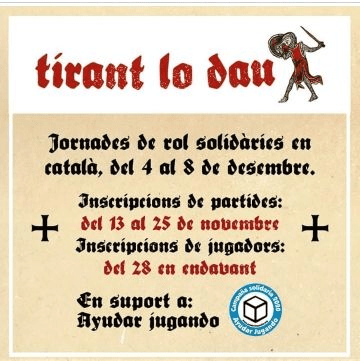 Fechas de Tirant lo dau: Jornades de rol solidàries en català