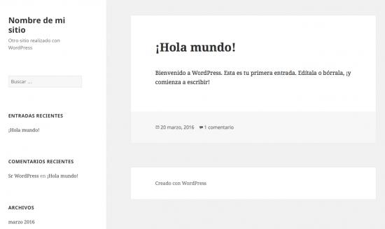 nuevo sitio WordPress recién creado