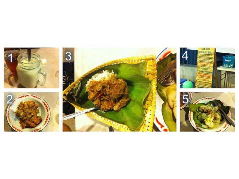 1. Susu Jahe, 2. Bakwan Jagung Buncang, 3. Mangut Cakalang, 3. Papan Peraturan, 5. Opor Ayam