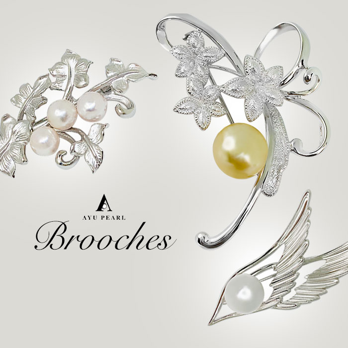 Silver brooch with Akoya Pearls