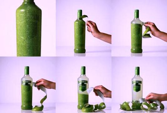 packaging design - Smirnoff Caipiroska peelable bottle