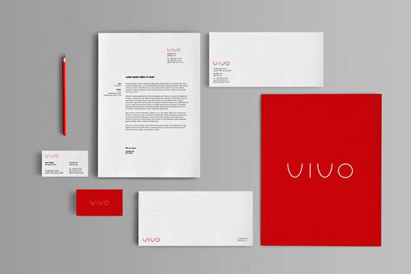 Corporate Identity Kop Surat Kartu Nama Desain Warna Merah