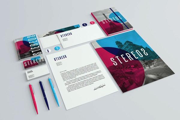 Desain Stasioneri Inspiratif Siap Print dan Cetak - Stereo 2 Branding Mock-up
