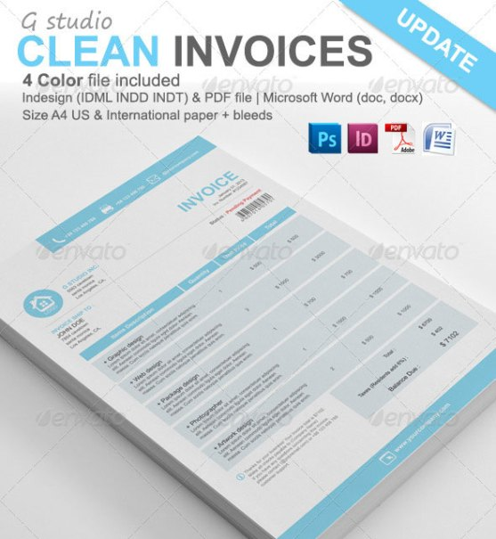 Contoh Invoice Desain Modern - Gstudio-Clean-Invoices-Template
