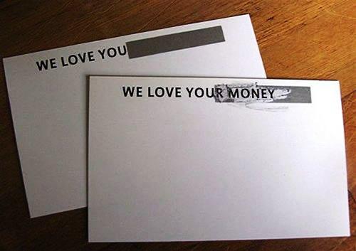 Contoh Desain Kartu Nama yang Unik - we-love-your-money-envelope-like-business-card