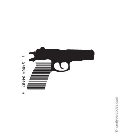 Desain Barcode Keren yang Unik - desain barcode unik kreatif vanitybarcodes - barcode seperti pistol