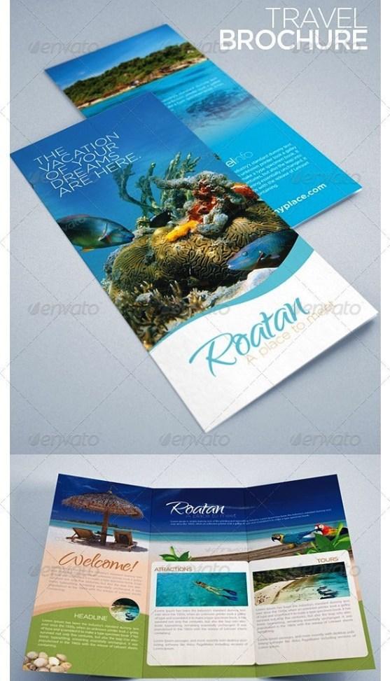 25 Contoh Desain Brosur Tour Dan Travel Terbaik - Brosur-Tour-dan-Travel-Travel-and-Tourism-Brochure-Caribbean-Beach