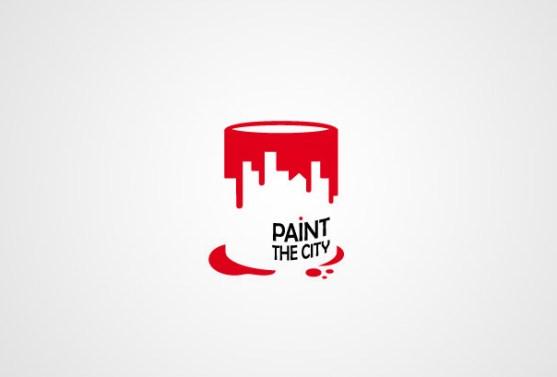 Logo dengan Desain Spasi Negatif - Logo-Paint-The-City