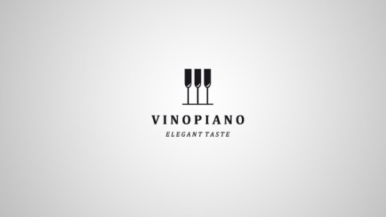 Logo dengan Desain Spasi Negatif - Logo-VinoPiano