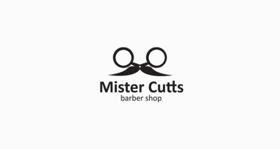 48 Contoh Logo dengan Simbol Tersembunyi - Mister-Cutts-Barber-Shop-Logo