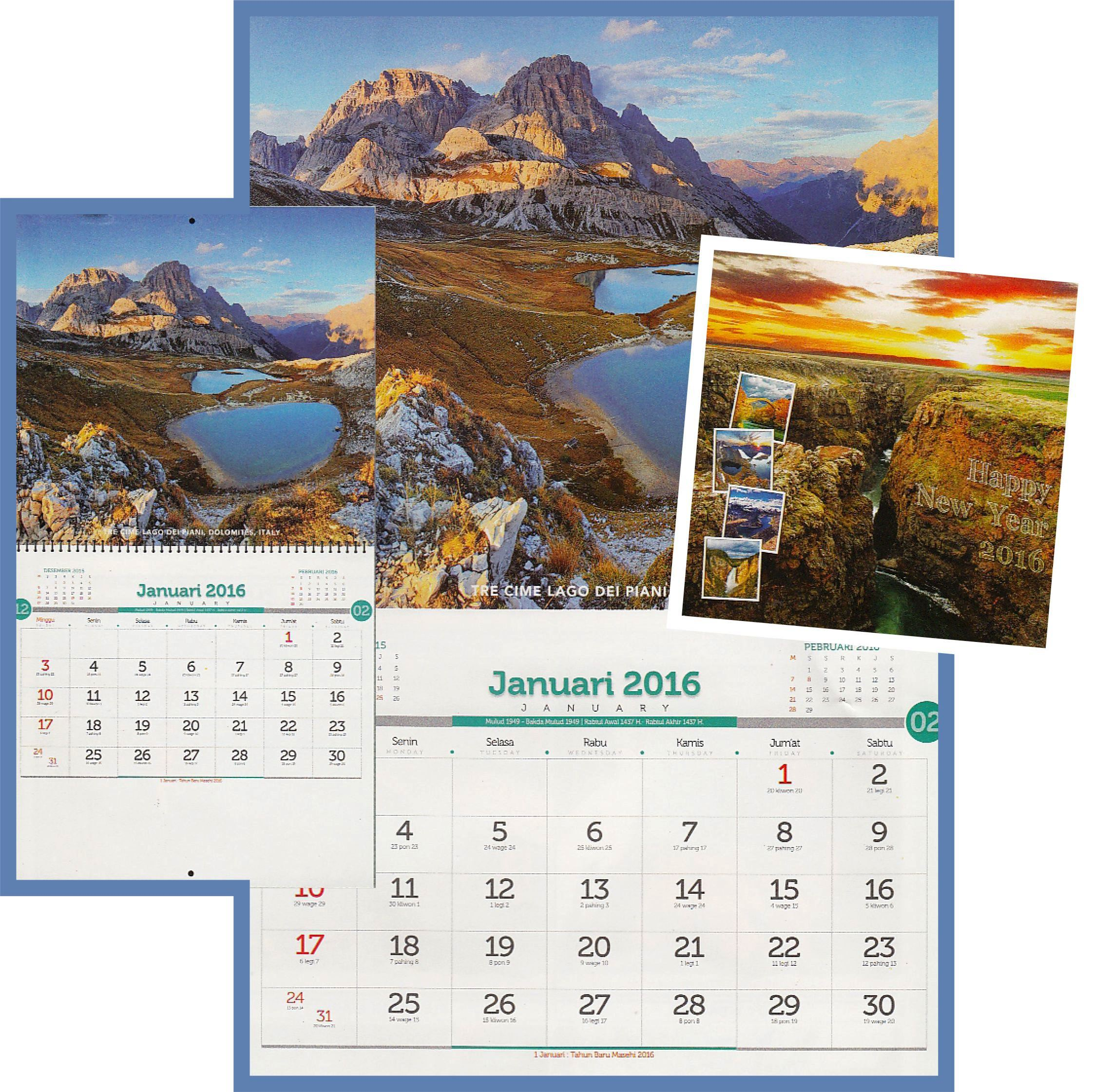 Desain Kalender 2016 Indahnya Dunia - Ayuprint.co.id