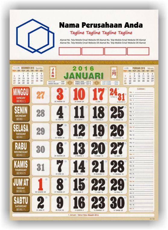 Kalender Cetak bagi Perusahaan dan Contoh Desain Kalender Kerja - Kalender Kerja Standard Full Color