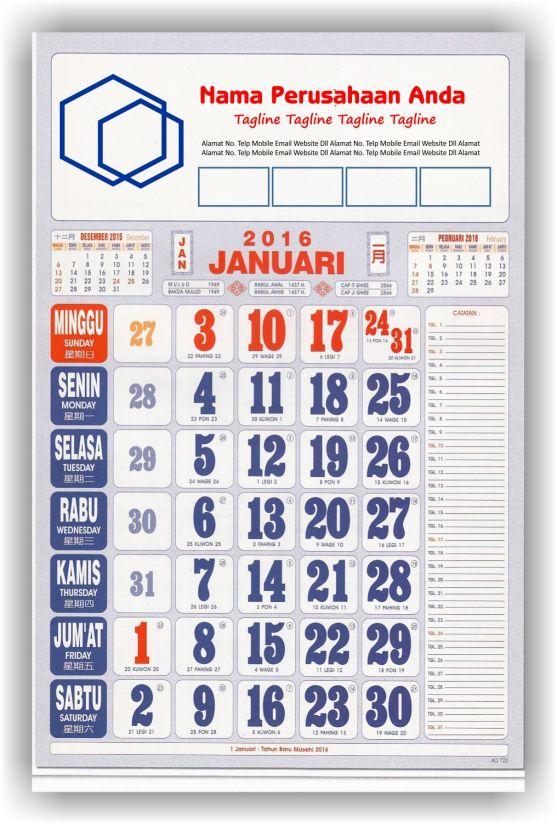 Kalender Cetak bagi Perusahaan dan Contoh Desain Kalender Kerja - Kalender Kerja Umum