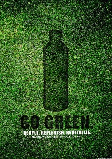 33 Contoh Poster Adiwiyata Go Green Lingkungan Hidup Hijau - Go-Green-Poster by Ghazi