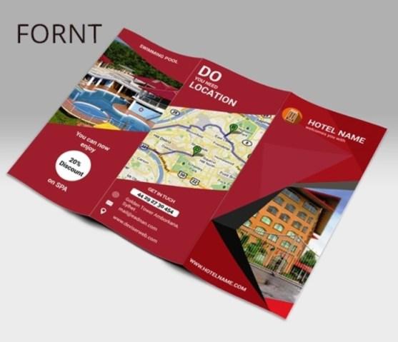 Membuat Desain Brosur untuk Usaha - Hotel-tri-fold-Brochure