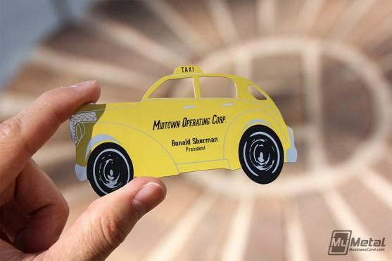 Desain Kartu Nama Bisnis Taksi - Kartu Nama Taxi - Yellow Taxi Metal Business Cards