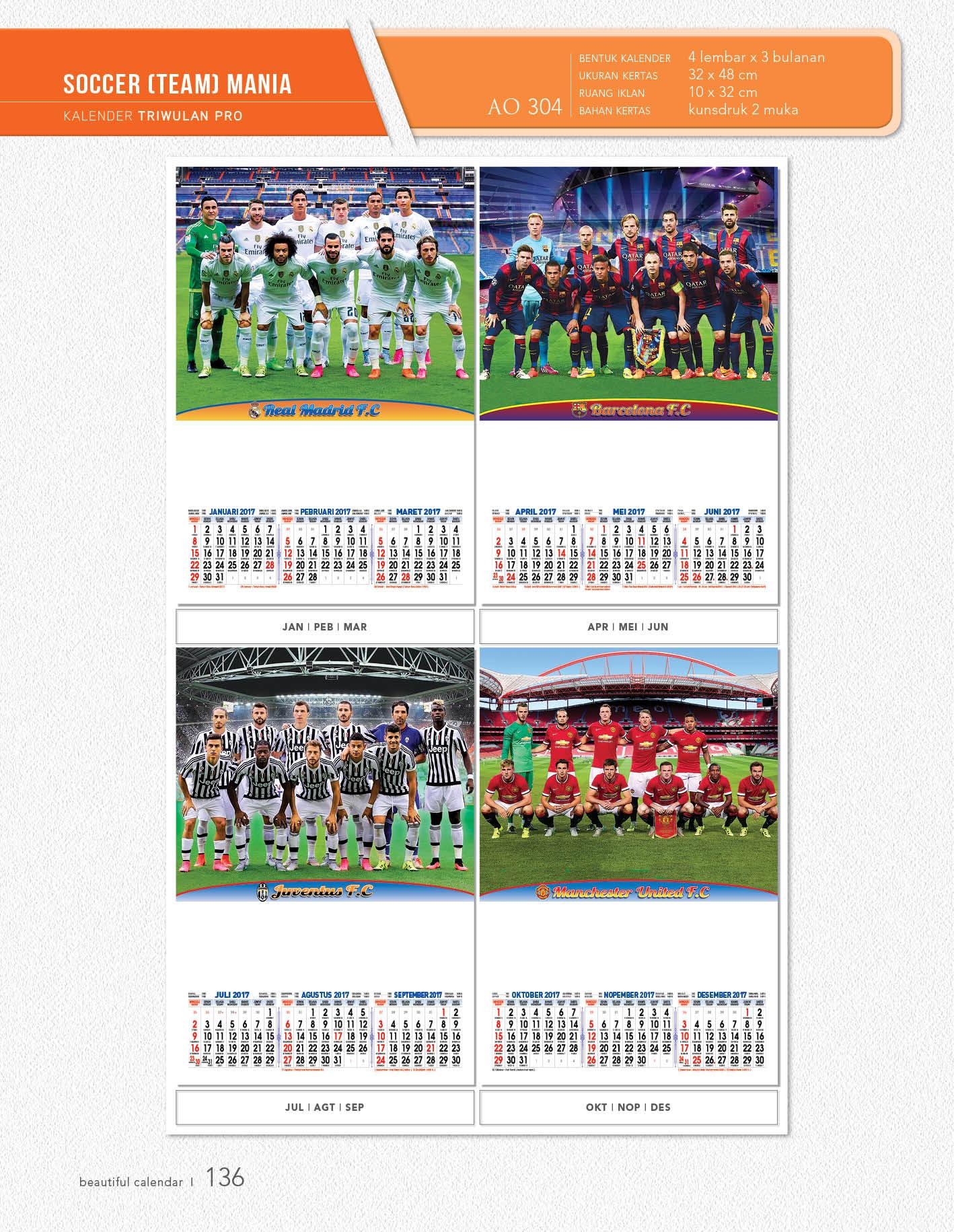 Kalender Dinding AO 3 Bulanan Desain Profesional Triwulan Pro