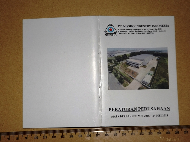 Contoh Desain dan Cetak Buku PP Peraturan Perusahaan Industri
