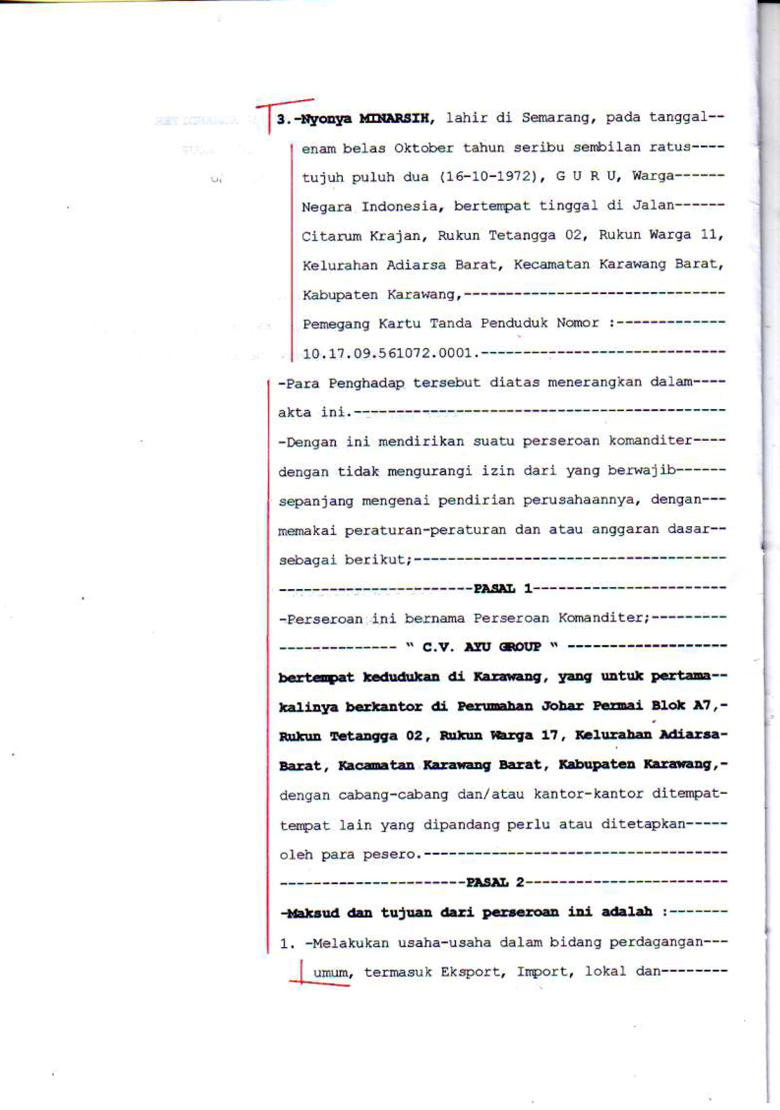 Dokumen Legalitas CV Ayu Group AKta Notaris 3
