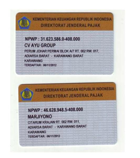 Dokumen Legalitas CV Ayu Group NPWP