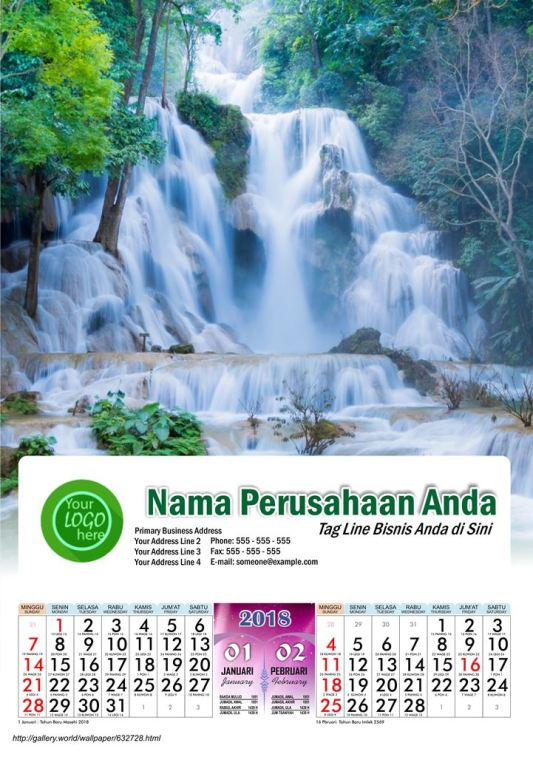 Kalender 2018 Full Design Air Terjun Dunia AO 220