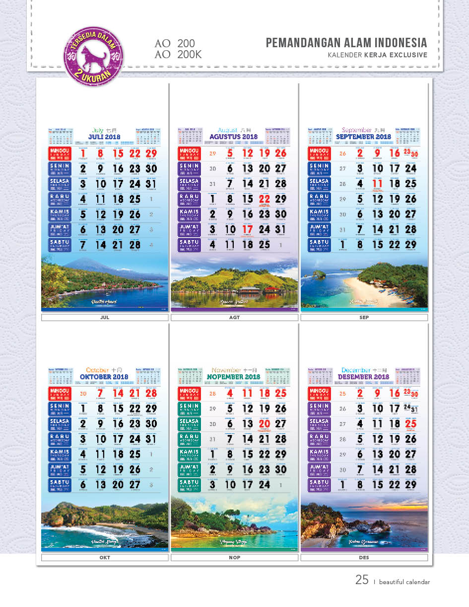 Kalender Kerja Exclusive AO Distributor Karawang Cikampek Cikarang Murah Berkualitas