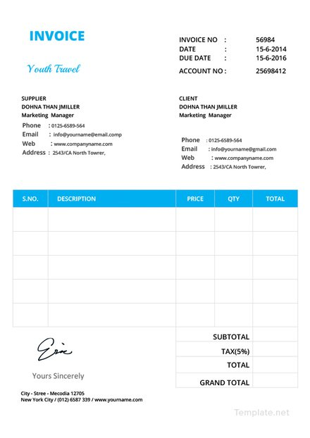 Template Invoice Faktur Pdf Doc Excel Free Download Dan Premium