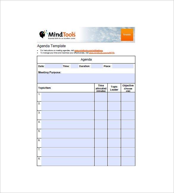 20+ Template Agenda Sederhana dalam Format PDF Word DOC