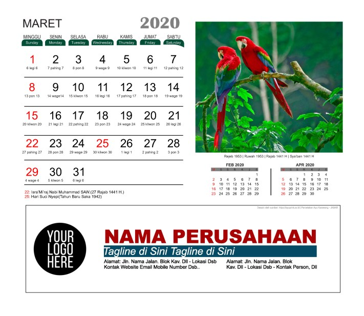 Kalender Meja 2020 Burung Cantik Download Gratis Template Vector PDF