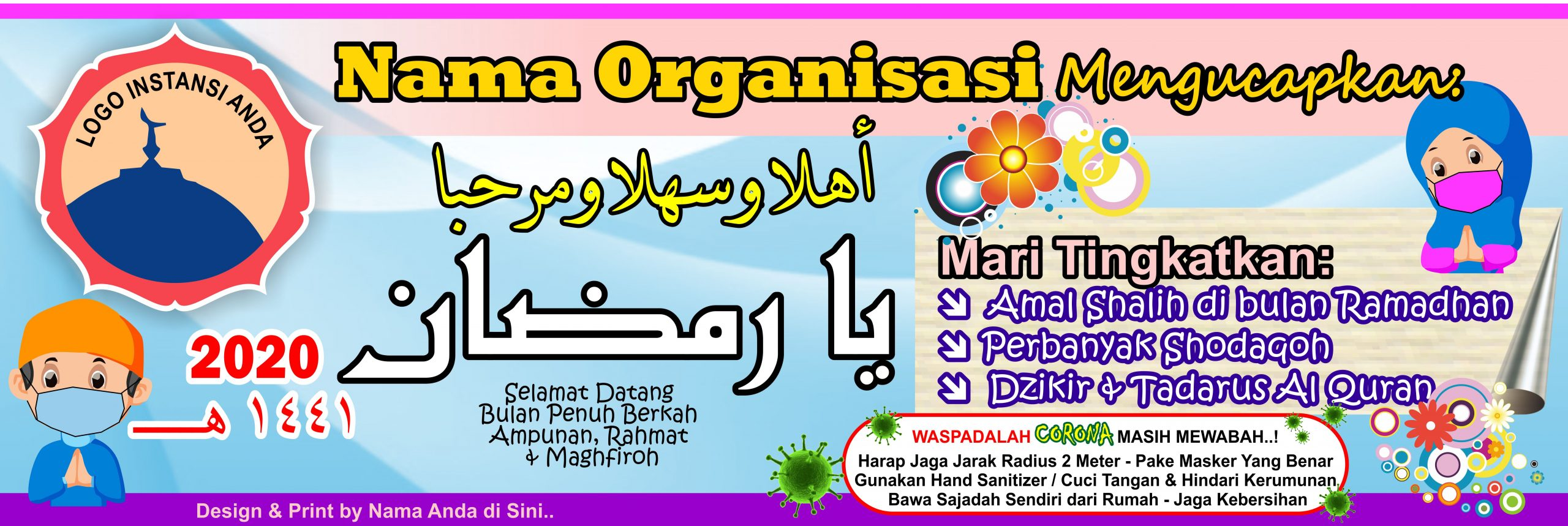 Banner Ramadhan 1441 2020 + Covid 19 Free Download Vector ...