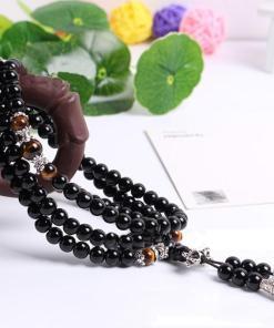 Bracelet mala protecteur oeil de tigre et obsidienne
