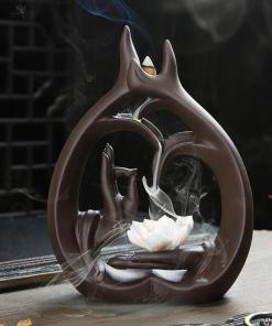 Porte encens main de Bouddha en céramique