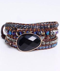 Bracelet Bohème Chic en cuir mélangé et pierre en Onyx